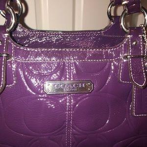 Nice purple patent leather signature C Coach purse